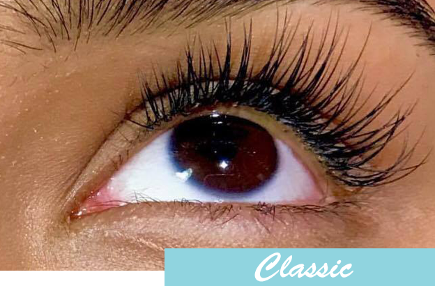 2fd04d2b621 Our classic set of extensions consists of individual silk lashes applied to  your top lashes. Every natural lash gets a single extension applied.