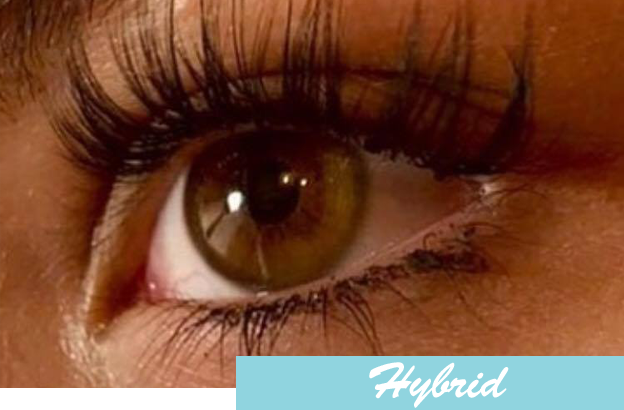 b5974429a78 A hybrid set of eyelash extensions consists of individual eyelash extensions  with volume lashes mixed in. This look creates a fuller slightly more  dramatic ...